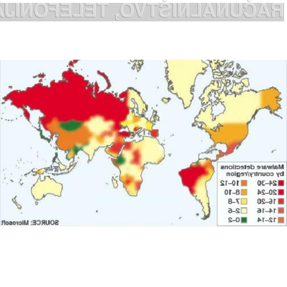 Slovenija ima relativno nizek odstotek okuženih računalnikov.