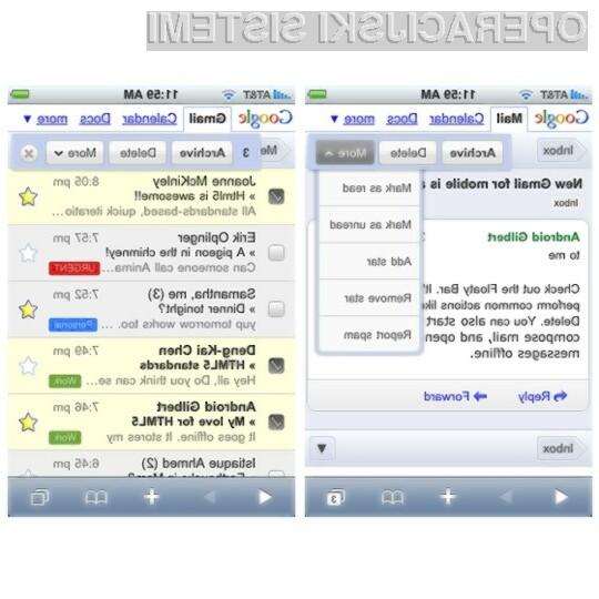 Novi odjemalec elektronske pošte Gmail Mobile je bil deležen tudi precejšnjih grafičnih izboljšav.