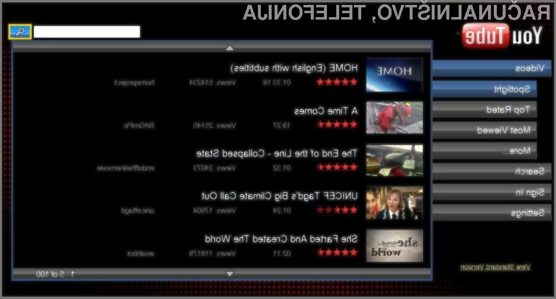 Youtube XL je prilagojen uporabnikom sodobnih televizorjev.