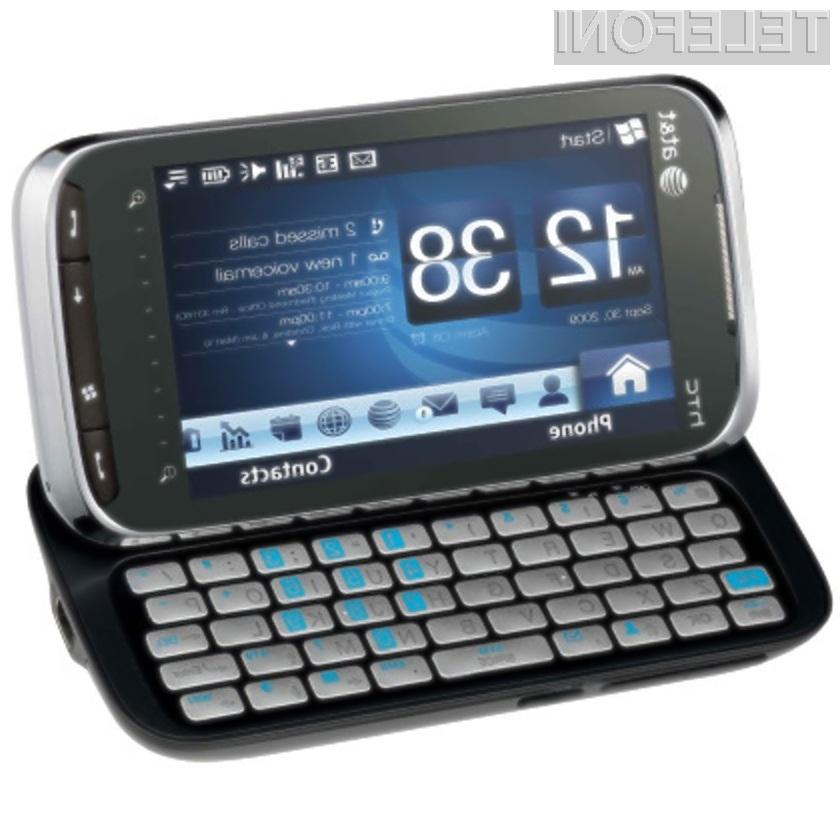Pametni mobilnik HTC Tilt 2 s prednameščenim operacijskim sistemom Windows Mobile 6.5.