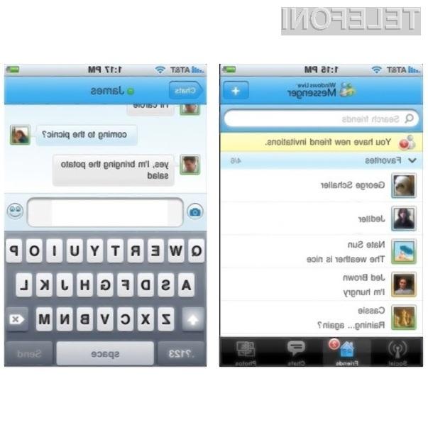 Spletna klepetalnica Windows Live Messenger naj bi bila kmalu na voljo tudi za Applov mobilnik iPhone.