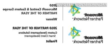 Slovensko podjetje Agito d.o.o. se je v kategoriji »Razvoj po meri – razvoj pametnih odjemalcev« uvrstilo med tri svetovne finaliste in je hkrati zmagovalec v regiji srednje in vzhodne Evrope.