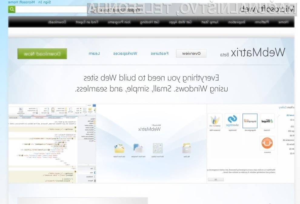 Programska oprema Microsoft WebMatrix omogoča hiter in enostaven razvoj dinamičnih spletnih strani.