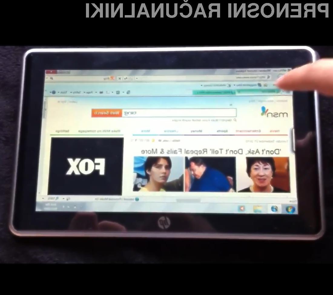 Tablični računalnik HP Slate z Okni 7 bi lahko bil resen tekmec celo Applovemu iPadu.