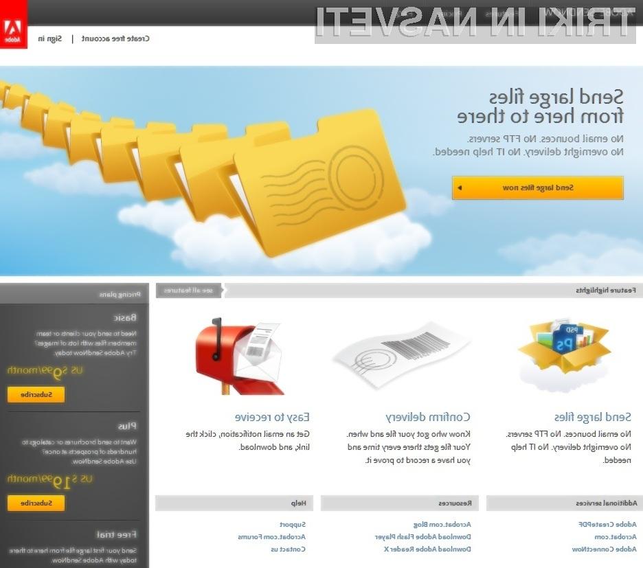 Storitev Adobe SendNow je pisana na kožo tistim, ki pošiljajo in prejemajo večje datoteke preko interneta.