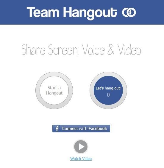 Pričnite spletno konferenco na teamhangout.com z enim klikom