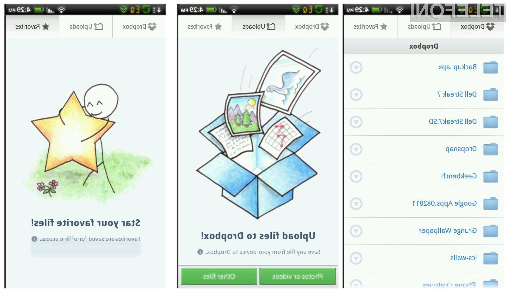Spremembe na uporabniškem vmesniku prinašajo izboljšan prikaz galerije, dostop do funkcij za  mape in datoteke z enim dotikom ter ločene zavihke za  Dropbox, Uploads in Favorites