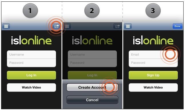 ISL Light iOS 2.0: Prijava novega uporabnika
