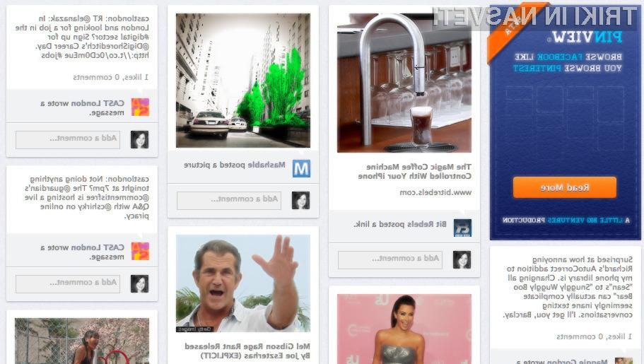PinView je aplikacija, ki bo vaš Facebook profil spremenila v podobo Pinteresta.