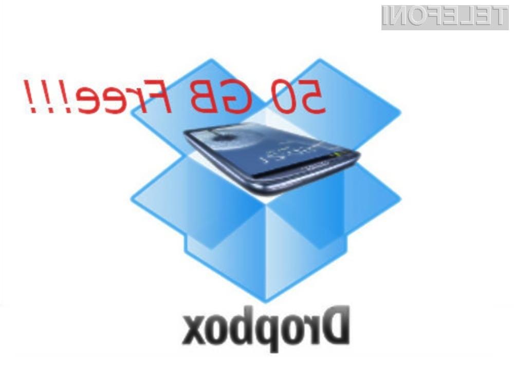 Dropbox računa, da bo na svojo stran pridobil večino kupcev mobilnika Samsung Galaxy S3.