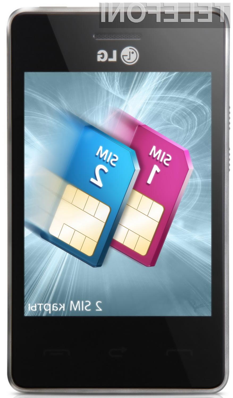 LG-jev model T370 omogoča uporabo dveh SIM kartic hkrati.