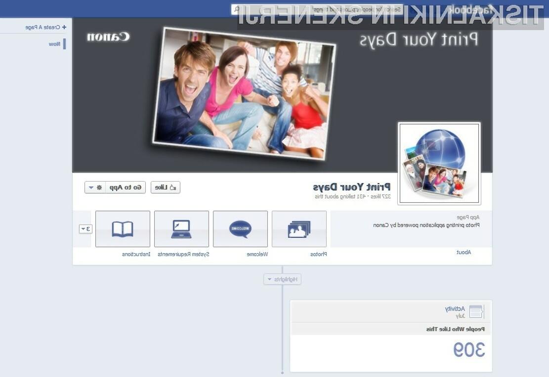 Nova ponudba vključuje aplikacijo za Facebook, ki olajša tiskanje čudovitih fotografij neposredno iz foto albumov,