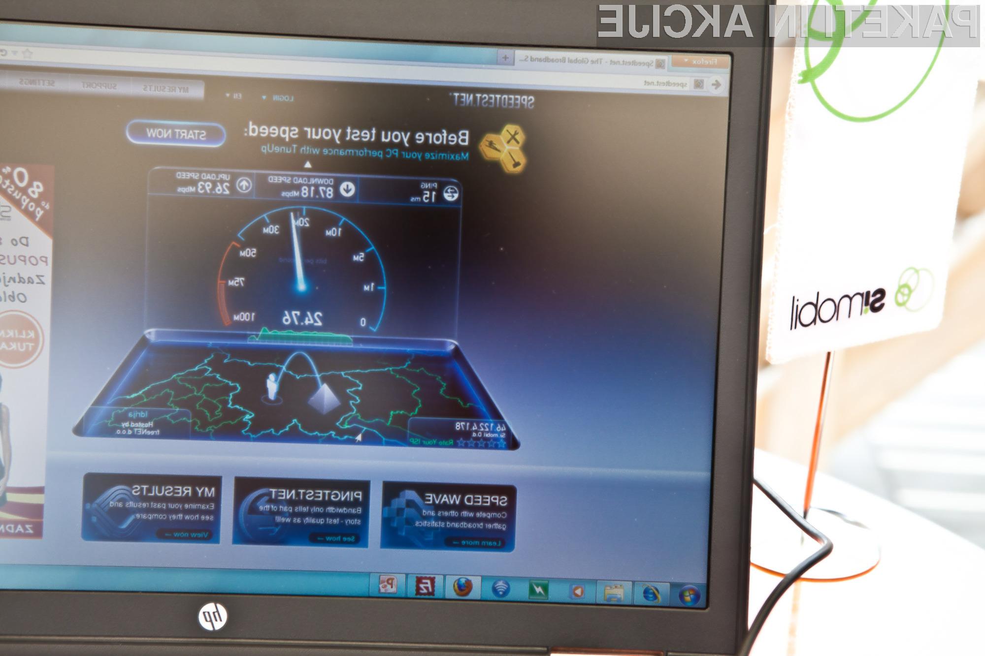 Test hitrosti so opravili s priljubljenim programom na spletni strani www.speedtest.net