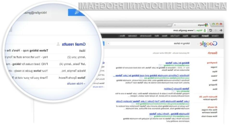 Boste Googlu dovolili, da vam bo pri iskanju po spletu v zadetkih prikazoval zasebno elektronsko pošto?