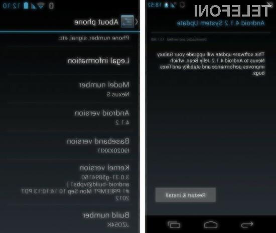 Ste že prejeli posodobitev na Android 4.1.2 Jelly Beam?