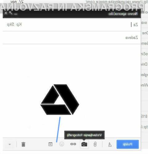 V novo obliko Gmailovih sporočil se bo storitev Drive elegantno integrirala.