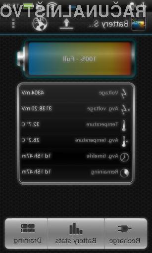 S programom Battery Stats Plus bomo hitro prepoznali energijsko potratne aplikacije!