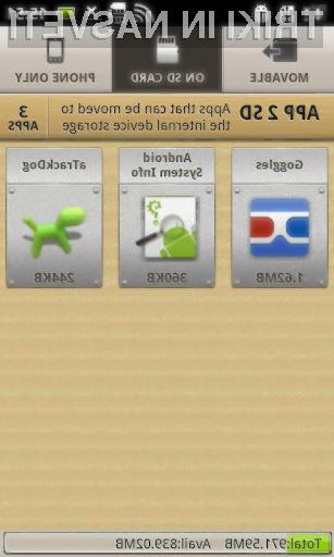 Premikanje aplikacij bo s programom App 2 SD Pro pravi mačji kašelj.