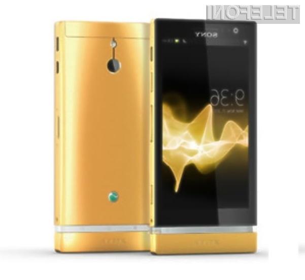 Zlato se več kot odlično prilega mobilniku Sony Xperia P.