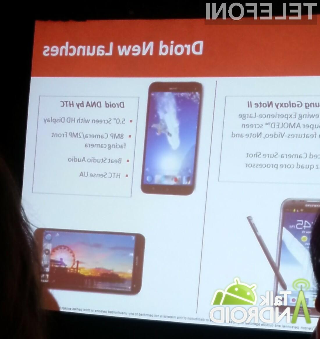 HTC-jev phablet bo svoj debi doživel v ponudbi ameriškega operaterija Verizon.