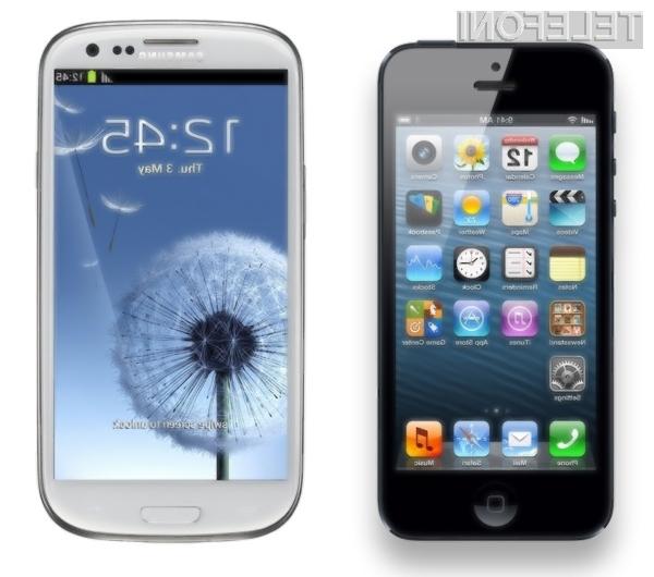 Dva izmed bolj prodajanih mobilnikov ob koncu lanskega leta sta bila iPhone 5 (levo) in Galaxy S III (desno).
