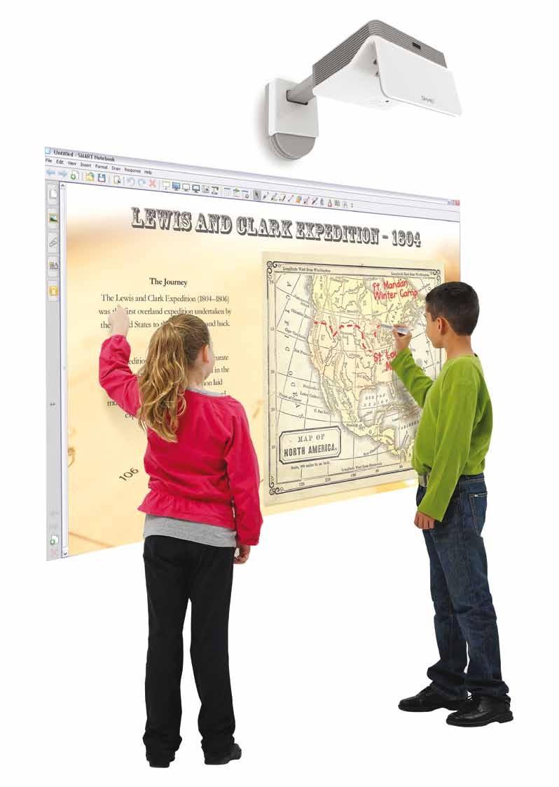 SMART LightRaise 60wi: Prvi in edini integrirani projektor na svetu, ki hkrati omogoča dotik s prstom ali pisalom dvema uporabnikoma naenkrat.