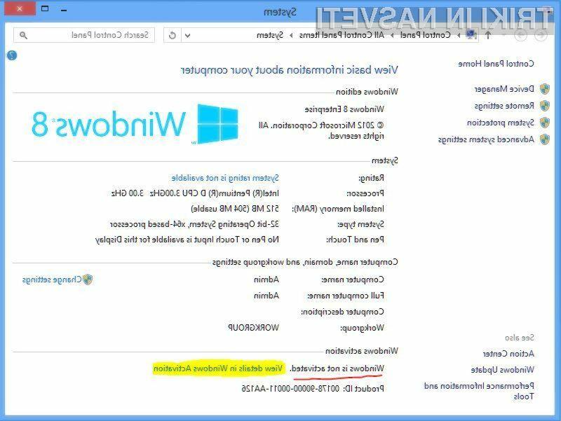 Aktivacija operacijskega sistema Windows 8 je nadvse enostavna!