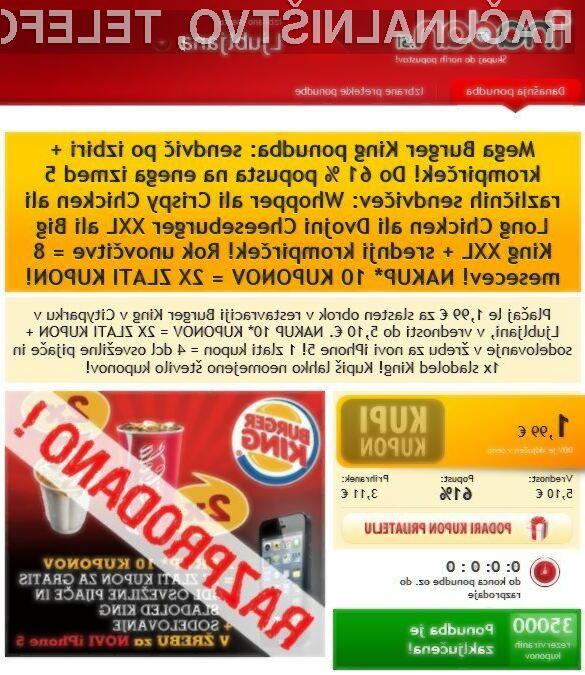 Razprodana ponudba 35.000 1nadan.si kuponov za Burger King.