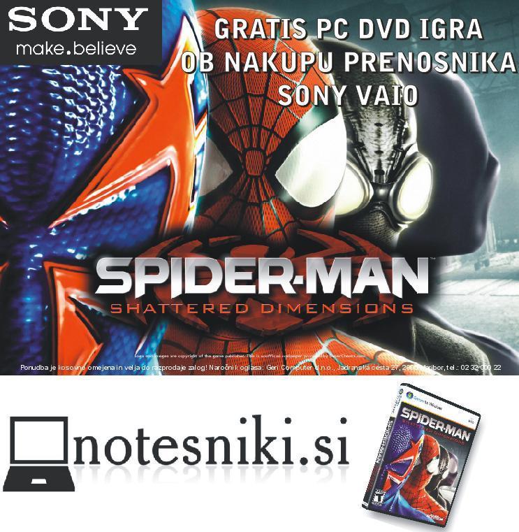 Gratis igra Spider Man ob nakupu prenosnika Sony VAIO pri www.Notesniki.si