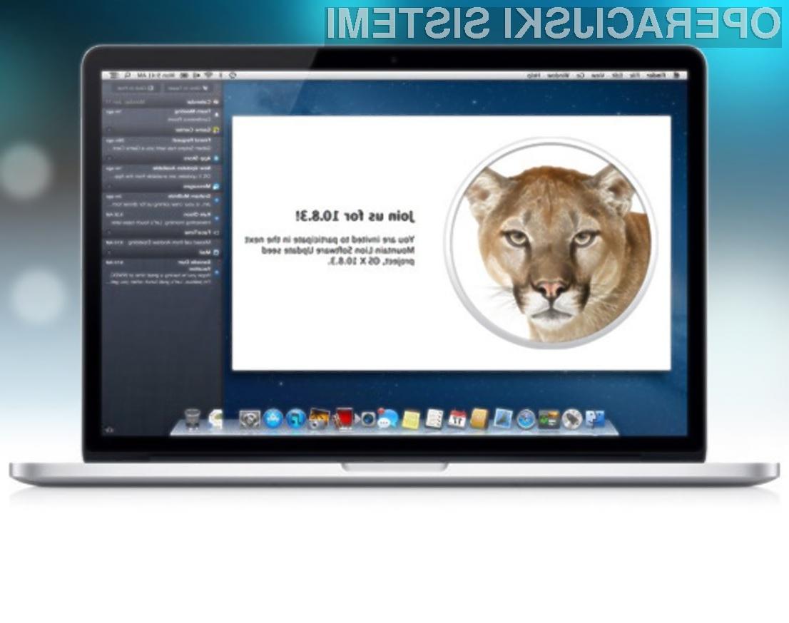 Operacijski sistem OS X Mountain Lion 10.8.3 je pisan na kožo uporabnikom konkurenčnih Oken 8.