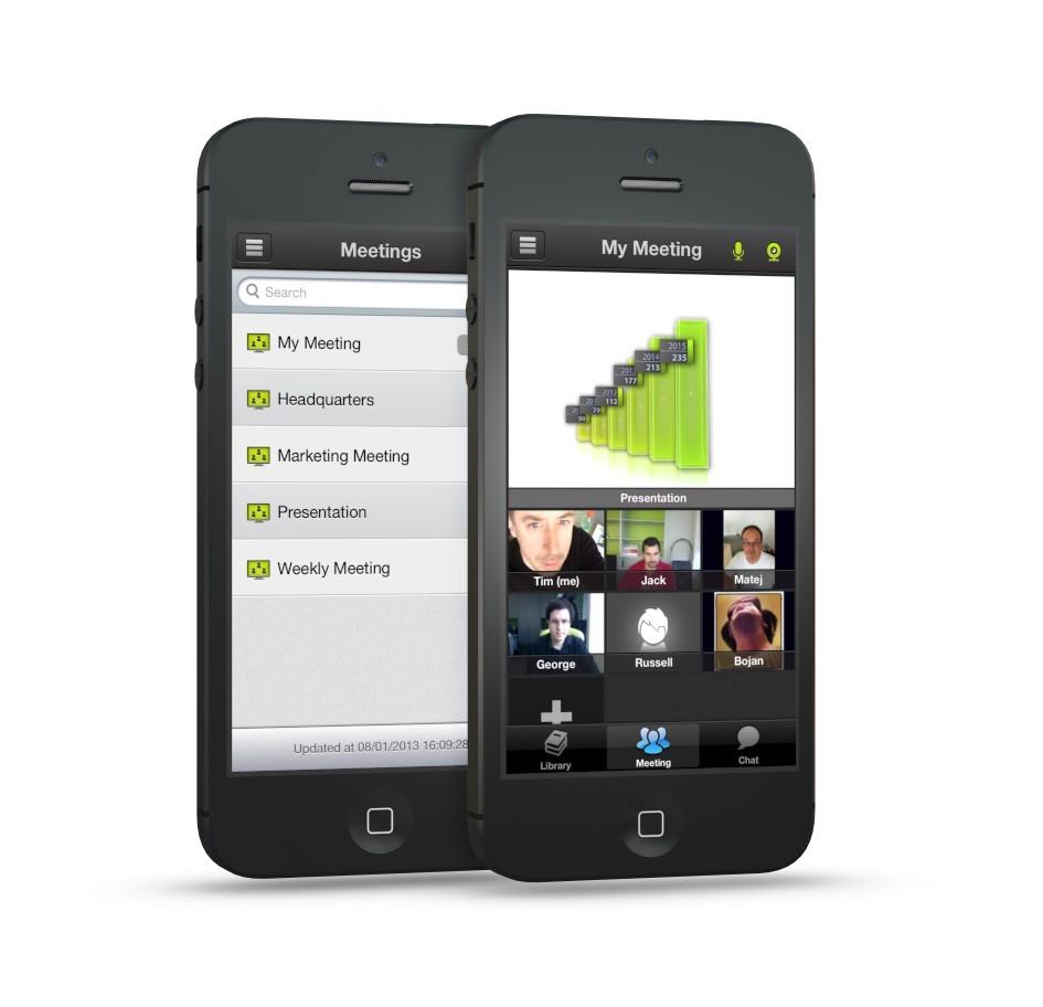 Spletni sestanek na iPhonu z novo aplikacijo ISL Groop iOS.