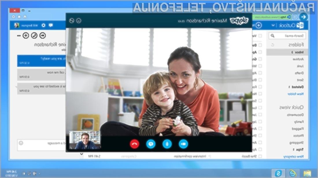 Storitev Skype bo kmalu mogoče uporabljati neposredno v e-odjemalcu Outlook.com tudi v Sloveniji.
