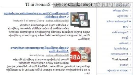 Primer seznama novic s slikami in vsebino na samostojni podstrani (primer na Najdi.si)