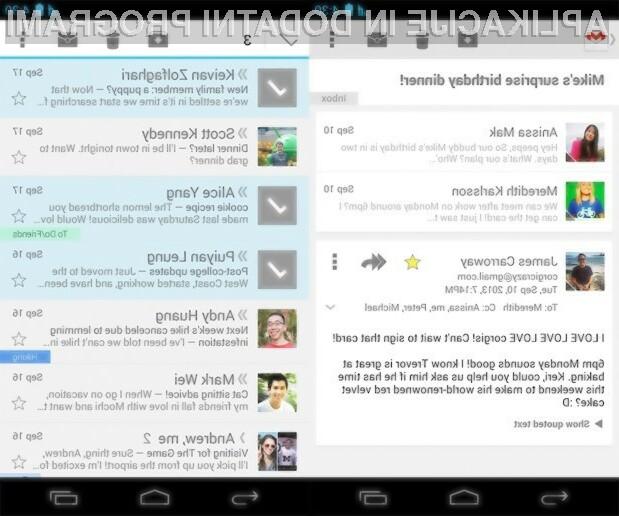 Prenovljeni mobilni odjemalec e-pošte Gmail vas bo zlahka prevzel!