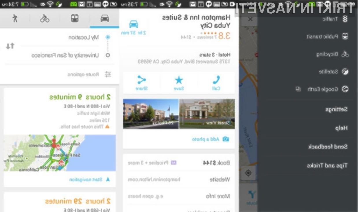 Nova različica Googlove mobilne inačice kartografskega sistema Maps zagotavlja učinkovitejšo uporabo navigacije!