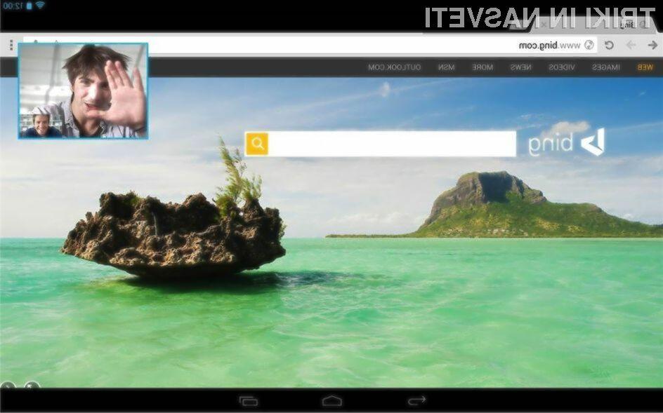 Možnost prikaza okna video klica za mobilne naprave je trenutno omogočena le uporabnikom tabličnih računalnikov Android!