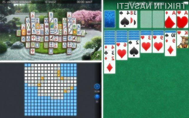 Klasične igre Pasjansa, Minolovec in Mahjong za Windows Phone se odlično obnesejo tudi na dotik občutljivih zaslonih.