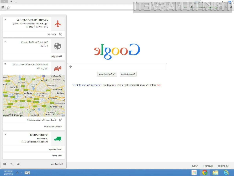 Storitev Google Now se odlično znajde v spletnem brskalniku Chrome.