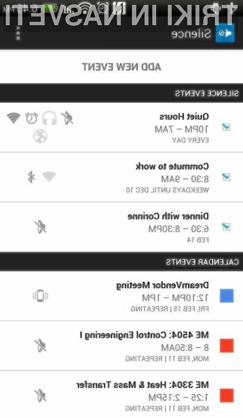 V aplikacijo Silence lahko vnesemo več različnih dogodkov. (foto: Google Play)
