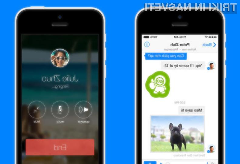 Z uporabo prenovljene mobilne aplikacije Facebook Messenger lahko pokličemo Faccebookove prijatelje kjerkoli je na voljo dostop do interneta.
