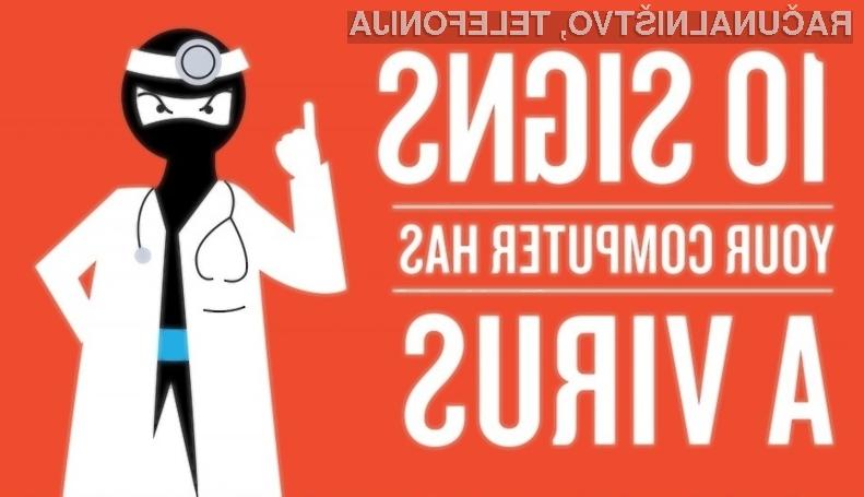 V primeru suma na okužbo z zlonamerno kodo računalnik nemudoma preglejte z zaščitno programsko opremo oziroma ga zaupajte strokovnjakom.