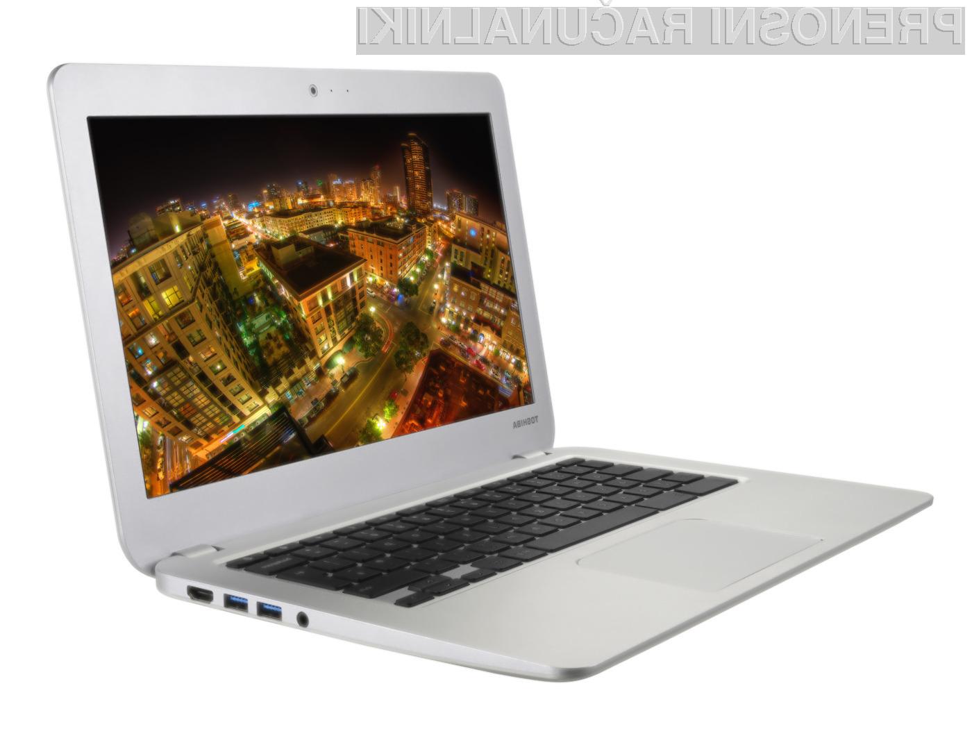 Prenosvljeni prenosi računalnik Toshiba Chromebook s procesorjem Intel Bay Trail bo zlahka opravil tudi z najtežjimi nalogami.
