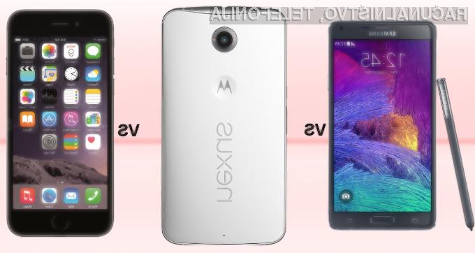 Z nakupom mobilnika Apple iPhone 6 Plus, Samsung Galaxy Note 4 ali Google Nexus 6 zagotovo ne bomo zgrešili.