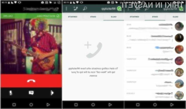 WhatsApp končno omogoča telefonske pogovore v omrežjih 3G, 4G/LTE in omrežju Wi-Fi.