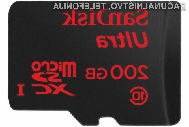 Na novo pomnilniško kartico podjetja SanDisk lahko shranimo do 20 ur videoposnetkov ločljivosti 1.920 x 1.080 slikovnih točk.