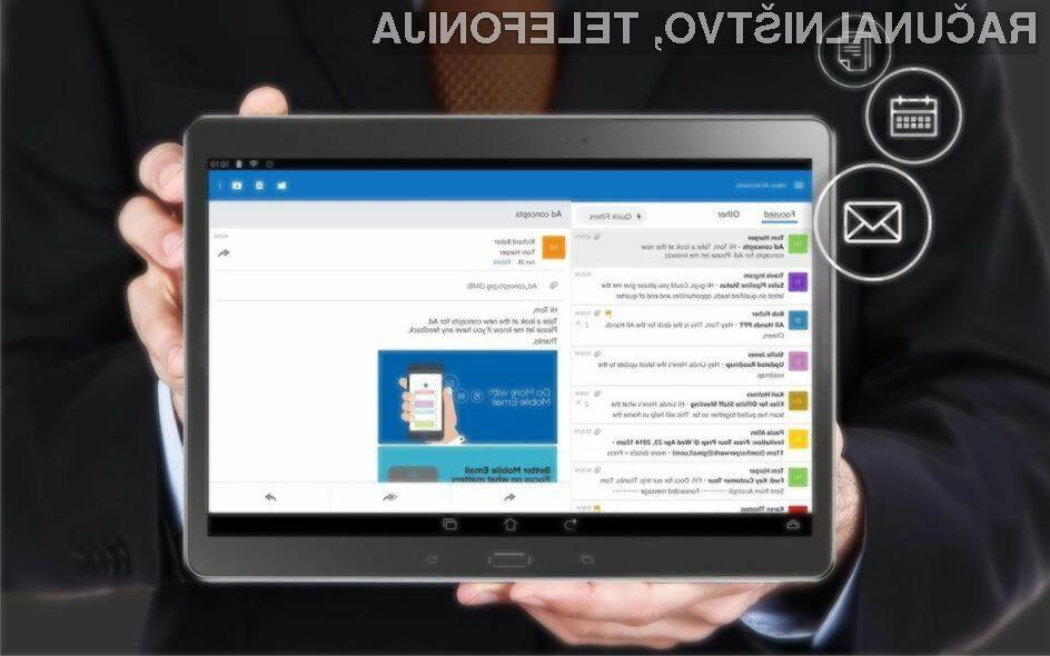 Novi Outlook za Android je izjemno priročen za uporabo.