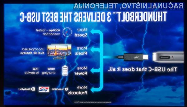 Thunderbolt 3 bo zlahka opravil z vmesnikom USB Type-C.