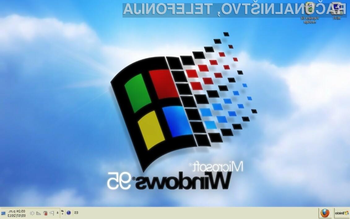 Operacijski sistem Windows 95 je ponekod še vedno v »operativni« uporabi.