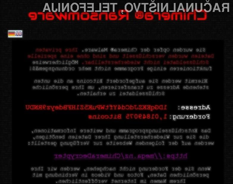 Zlonamerna koda Chimera naj bi pretentala že številneuporabnikespleta!
