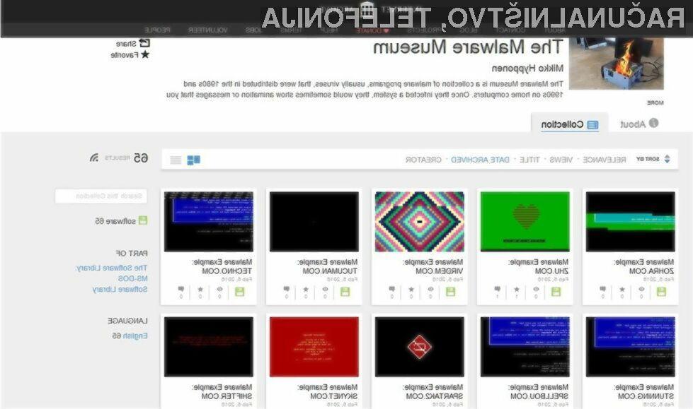 Spletni portal Internet Archive ponuja edinstveno zbirko škodljivih kod iz 80. in 90. let prejšnjega stoletja.